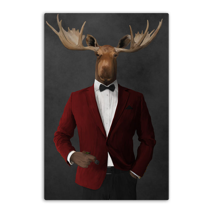 Moose smoking cigar wearing red and black suit canvas wall art