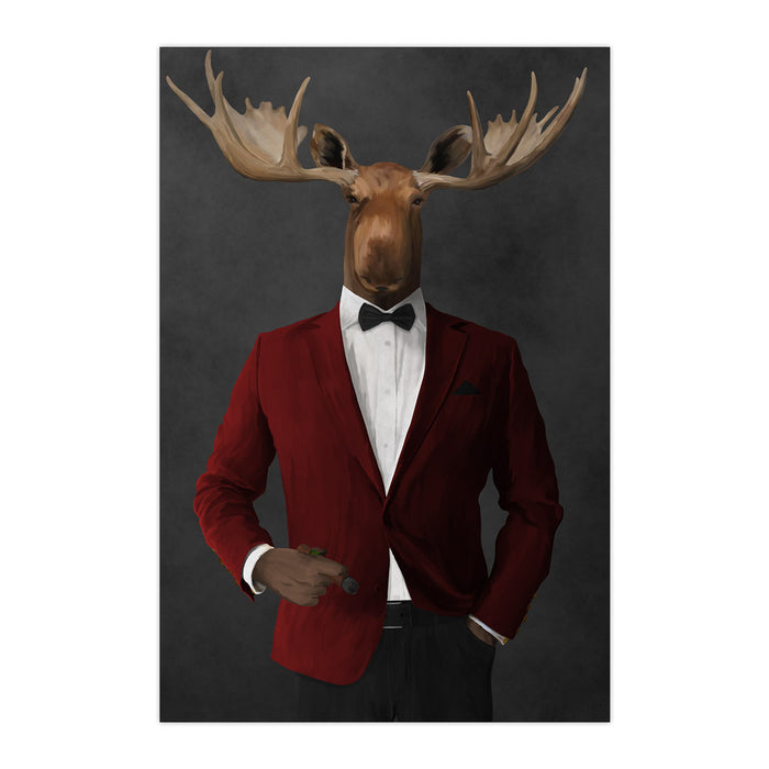 Moose smoking cigar wearing red and black suit large wall art print