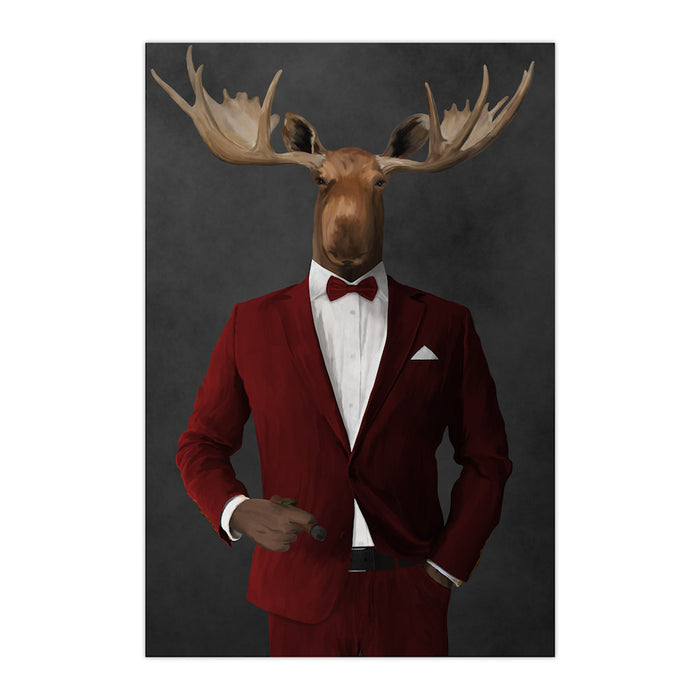 Moose smoking cigar wearing red suit large wall art print
