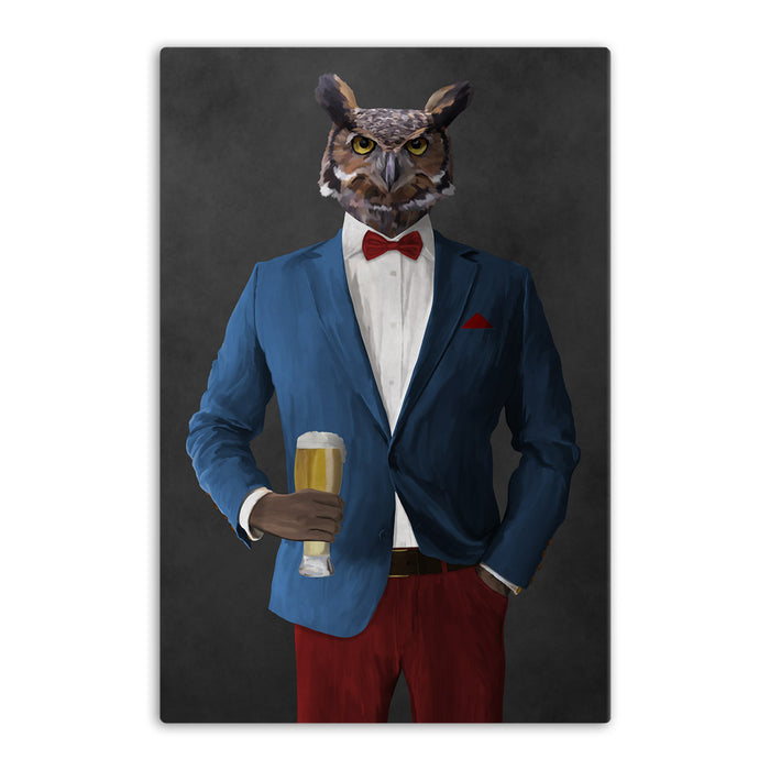 Owl drinking beer wearing blue and red suit canvas wall art