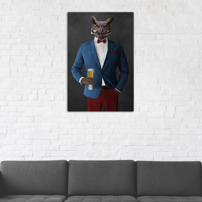 Owl Drinking Beer Wall Art - Blue and Red Suit