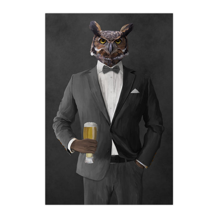 Owl drinking beer wearing gray suit large wall art print