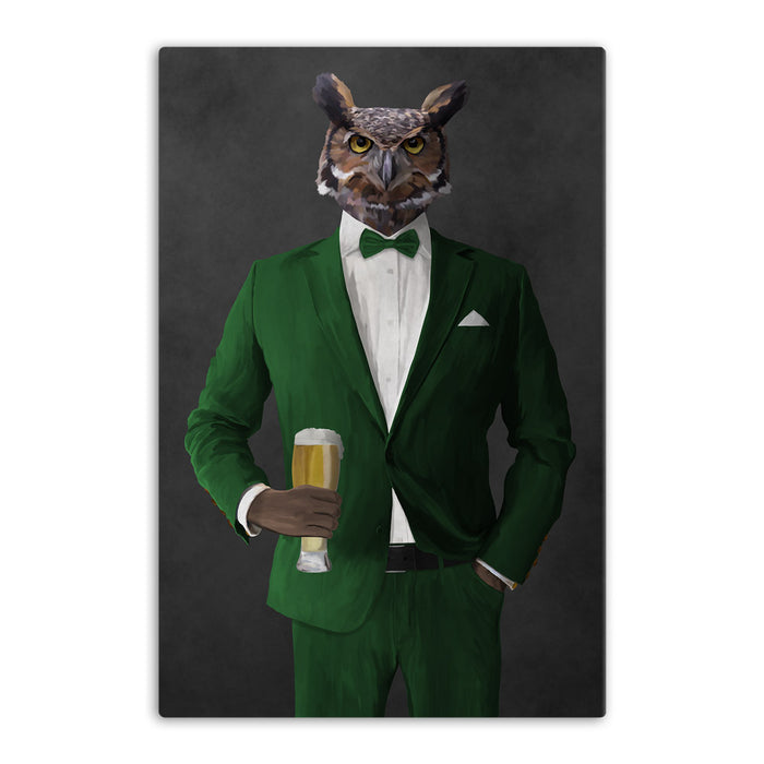 Owl drinking beer wearing green suit canvas wall art