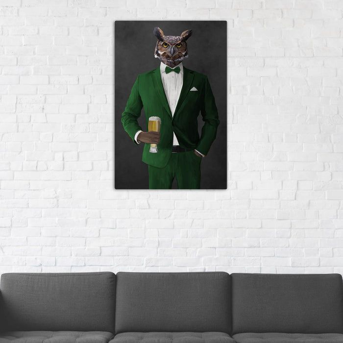 Owl Drinking Beer Wall Art - Green Suit