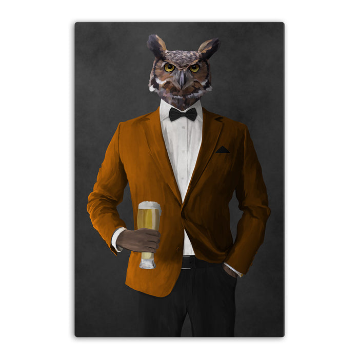Owl drinking beer wearing orange and black suit canvas wall art