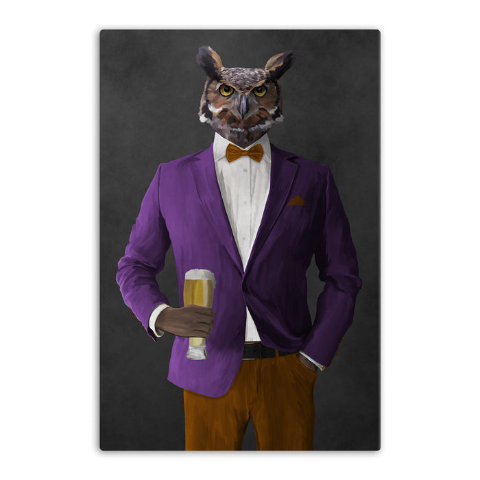 Owl drinking beer wearing purple and orange suit canvas wall art