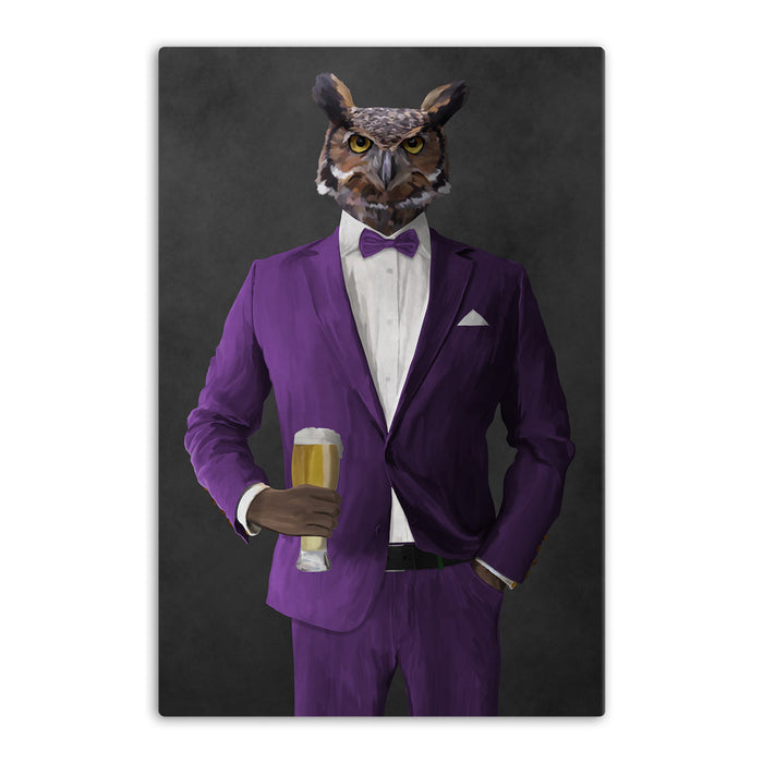 Owl drinking beer wearing purple suit canvas wall art
