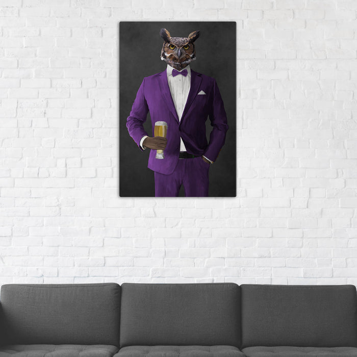 Owl Drinking Beer Wall Art - Purple Suit