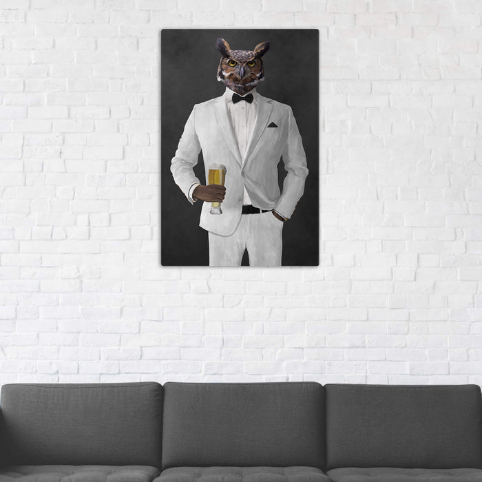 Owl Drinking Beer Wall Art - White Suit