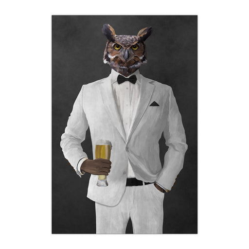 Owl drinking beer wearing white suit large wall art print