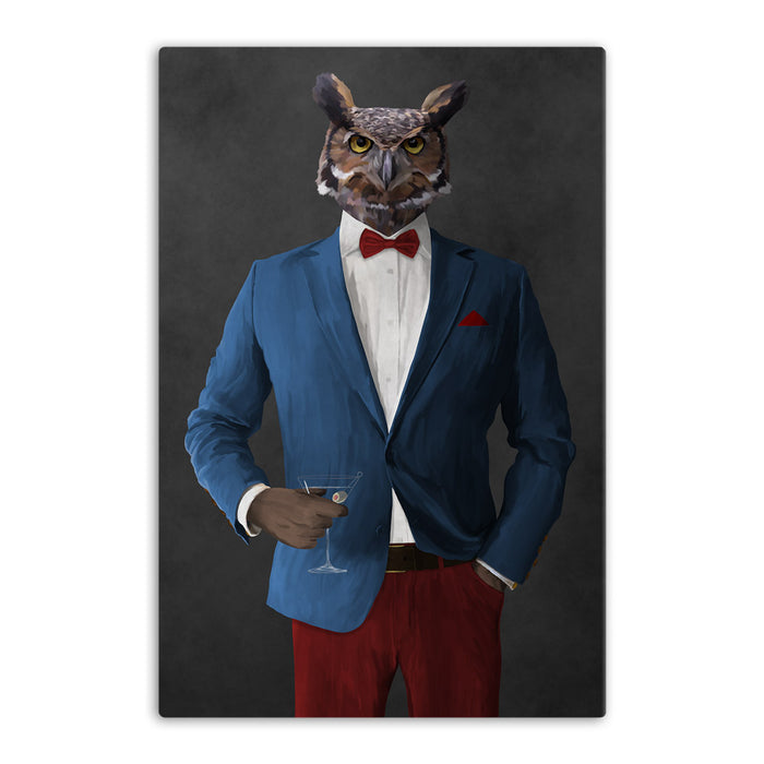 Owl drinking martini wearing blue and red suit canvas wall art