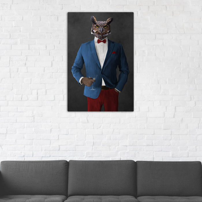 Owl Drinking Martini Wall Art - Blue and Red Suit