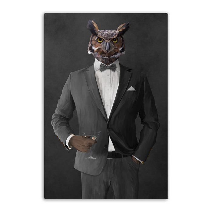 Owl drinking martini wearing gray suit canvas wall art