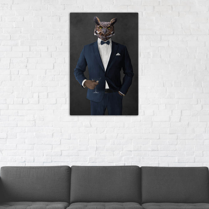 Owl Drinking Martini Wall Art - Navy Suit