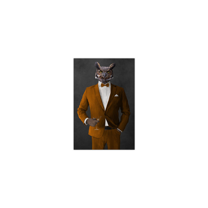 Owl drinking martini wearing orange suit small wall art print