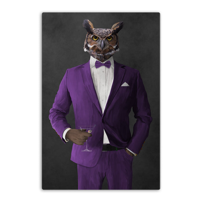 Owl drinking martini wearing purple suit canvas wall art