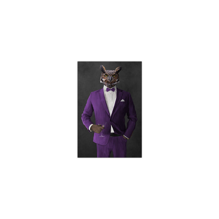 Owl drinking martini wearing purple suit small wall art print