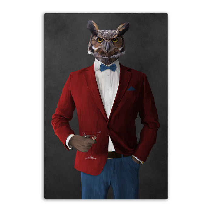Owl drinking martini wearing red and blue suit canvas wall art
