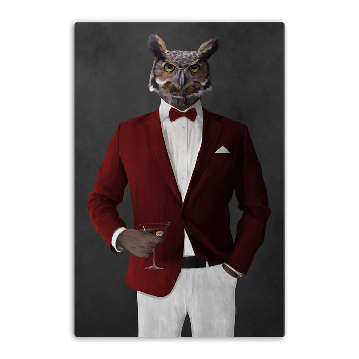 Owl drinking martini wearing red and white suit canvas wall art