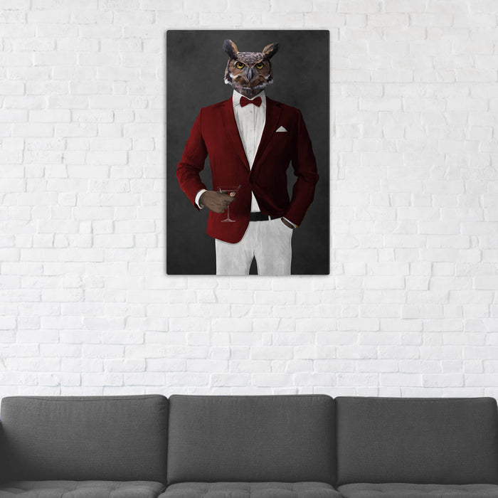 Owl Drinking Martini Wall Art - Red and White Suit