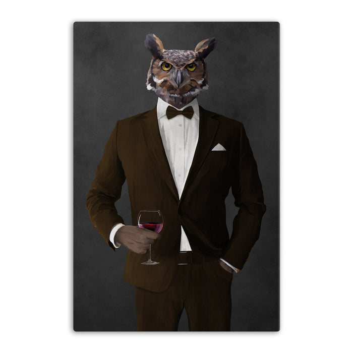 Owl drinking red wine wearing brown suit canvas wall art
