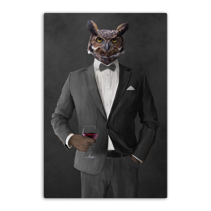 Owl drinking red wine wearing gray suit canvas wall art