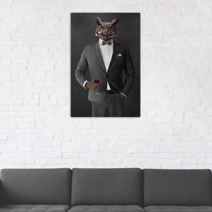 Owl Drinking Red Wine Wall Art - Gray Suit