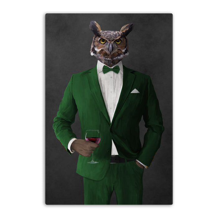 Owl drinking red wine wearing green suit canvas wall art
