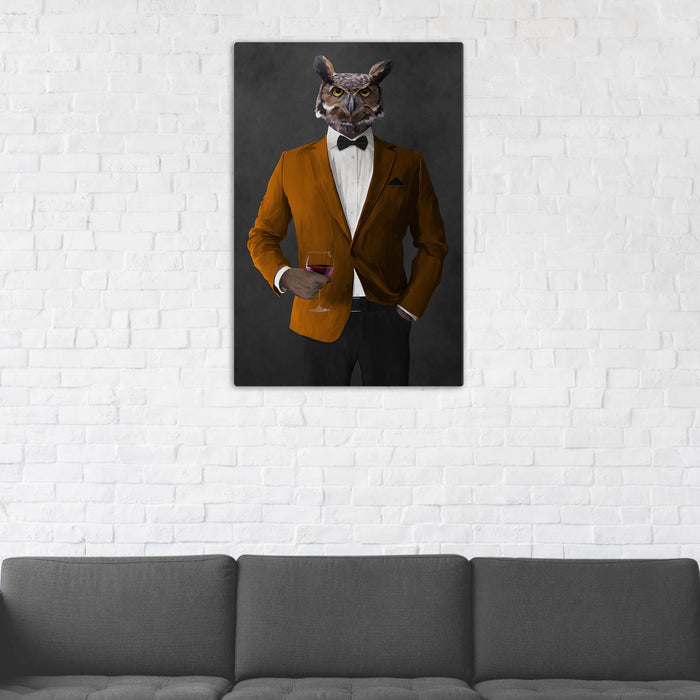 Owl Drinking Red Wine Wall Art - Orange and Black Suit