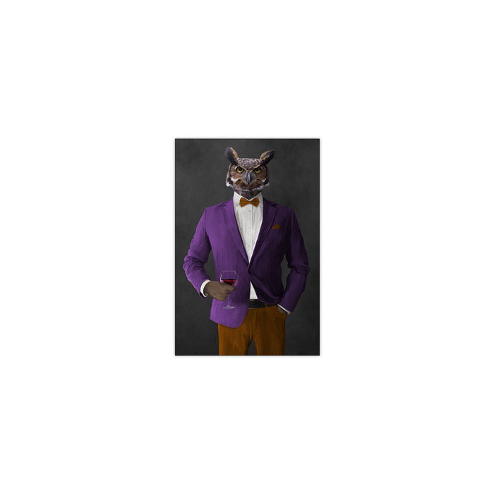 Owl drinking red wine wearing purple and orange suit small wall art print
