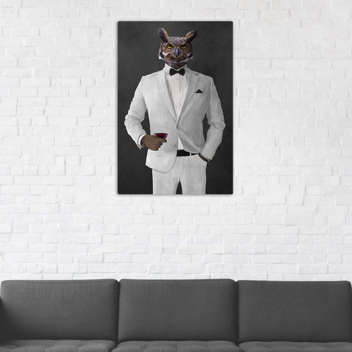 Owl Drinking Red Wine Wall Art - White Suit