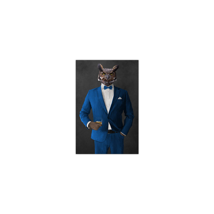 Owl drinking whiskey wearing blue suit small wall art print