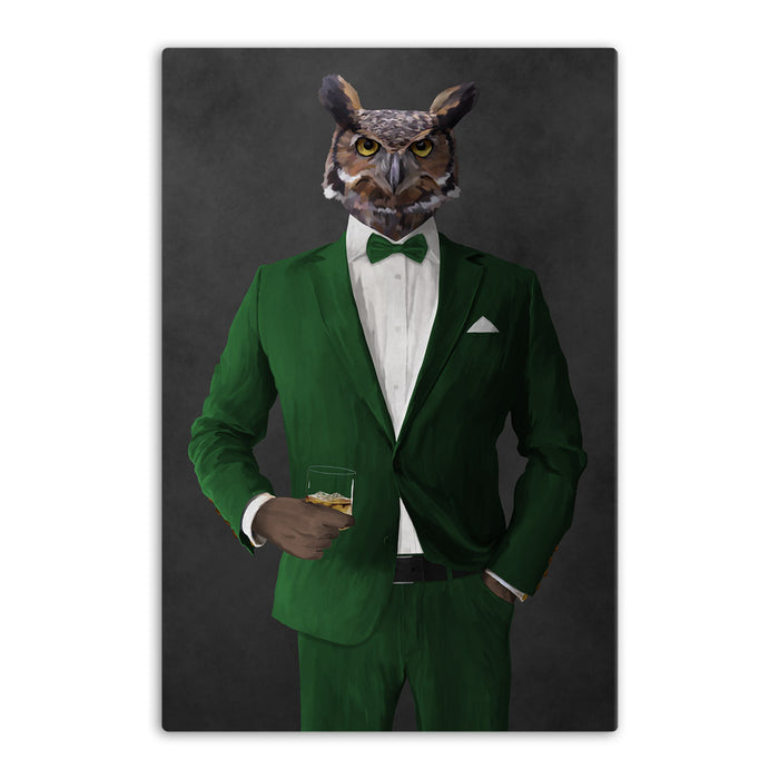 Owl drinking whiskey wearing green suit canvas wall art