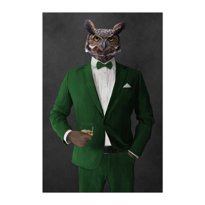 Owl drinking whiskey wearing green suit large wall art print