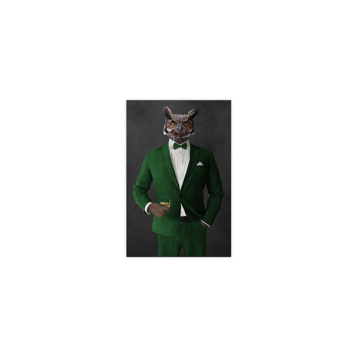 Owl drinking whiskey wearing green suit small wall art print