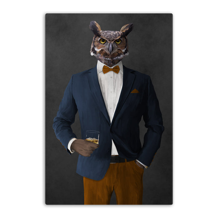 Owl drinking whiskey wearing navy and orange suit canvas wall art