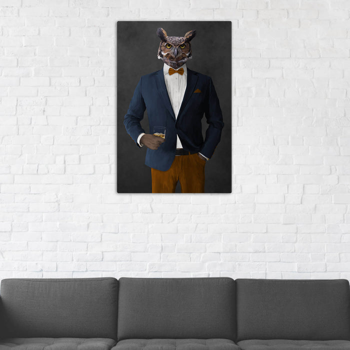 Owl Drinking Whiskey Wall Art - Navy and Orange Suit