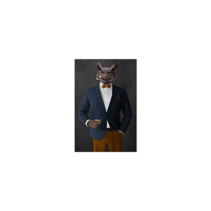 Owl drinking whiskey wearing navy and orange suit small wall art print
