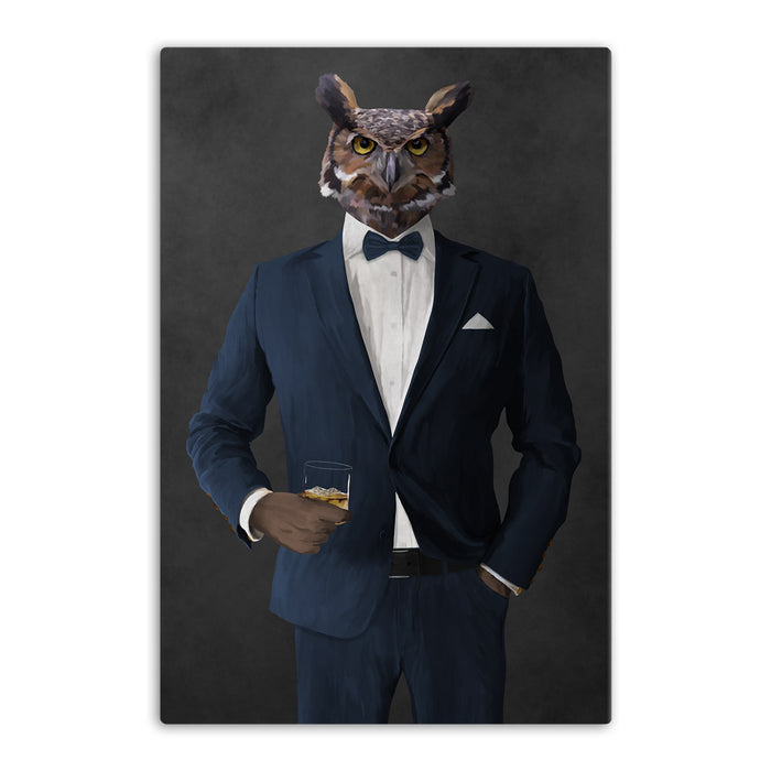 Owl drinking whiskey wearing navy suit canvas wall art