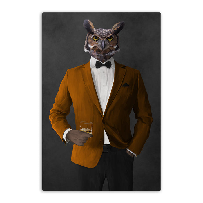 Owl drinking whiskey wearing orange and black suit canvas wall art
