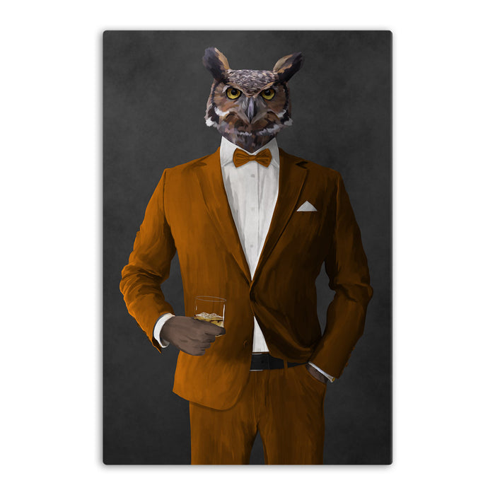 Owl drinking whiskey wearing orange suit canvas wall art