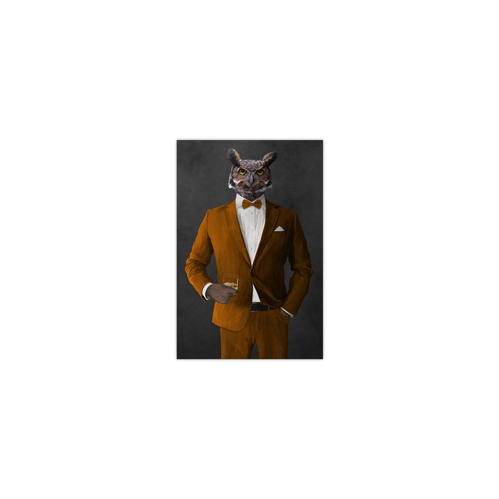 Owl drinking whiskey wearing orange suit small wall art print