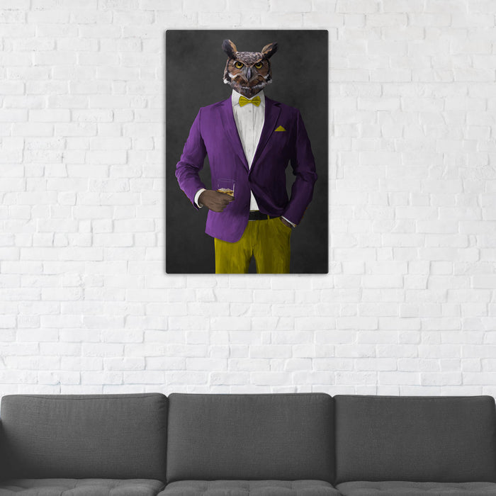 Owl Drinking Whiskey Wall Art - Purple and Yellow Suit