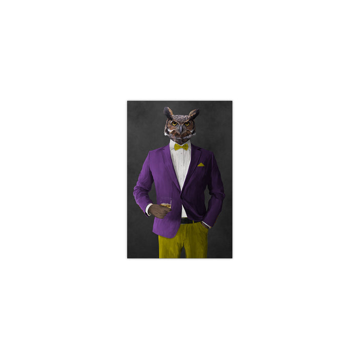 Owl drinking whiskey wearing purple and yellow suit small wall art print
