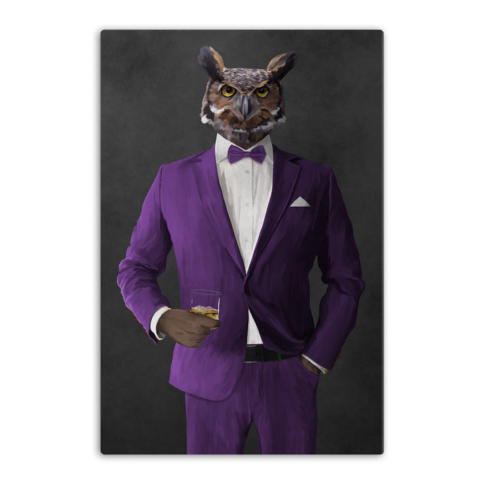 Owl drinking whiskey wearing purple suit canvas wall art