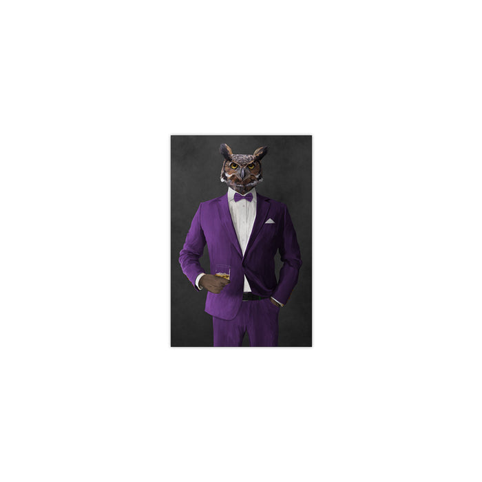 Owl drinking whiskey wearing purple suit small wall art print