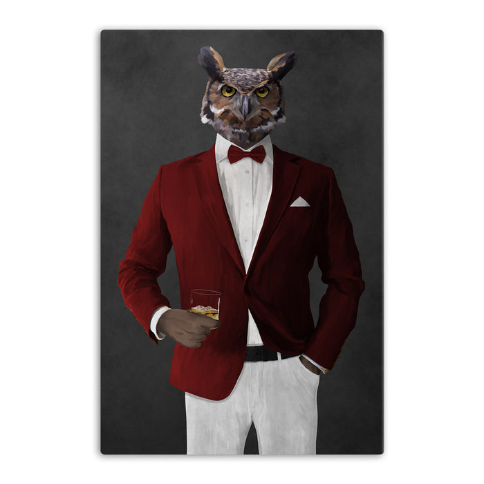 Owl drinking whiskey wearing red and white suit canvas wall art