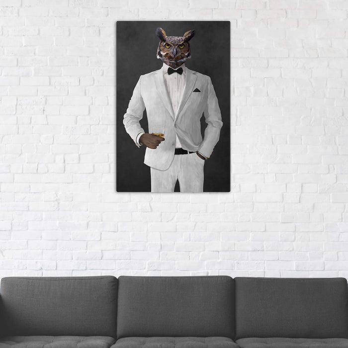 Owl Drinking Whiskey Wall Art - White Suit