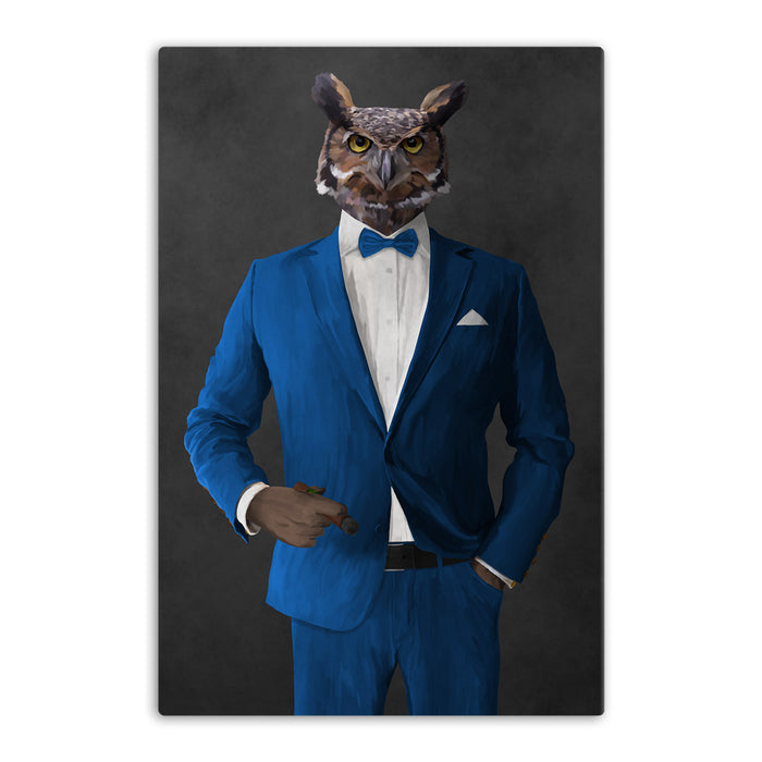 Owl smoking cigar wearing blue suit canvas wall art