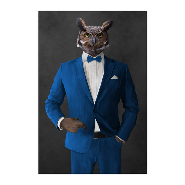 Owl smoking cigar wearing blue suit large wall art print